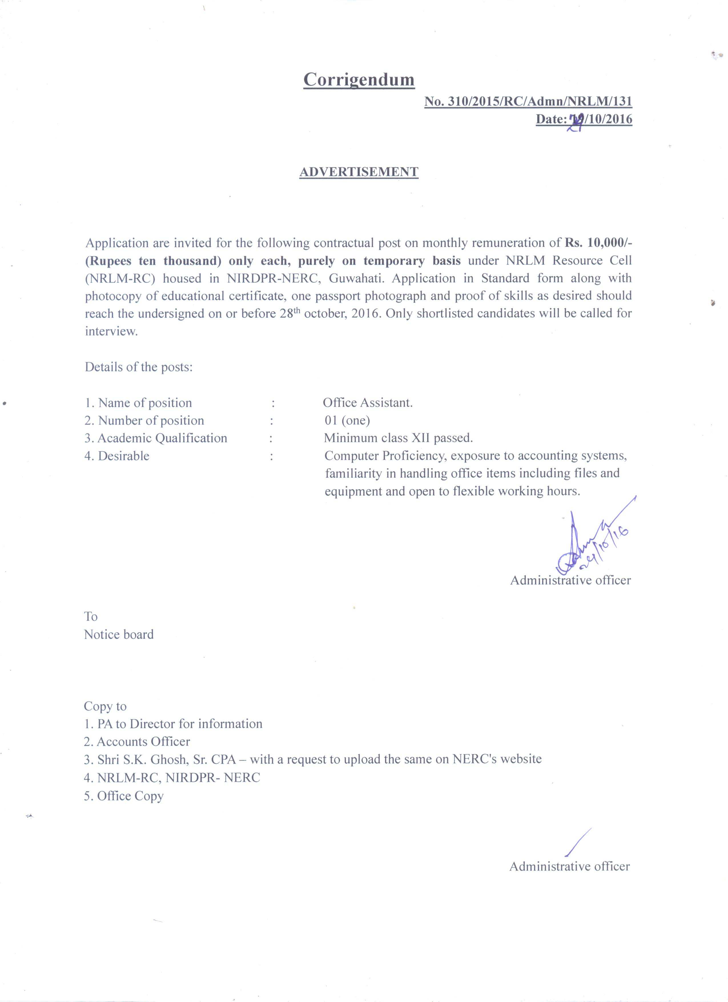 Nird nerc guwahati vacancy notice 5 corrigendum recruitment notice for the contactual post of office assistant october 24 2016 thecheapjerseys Gallery